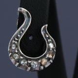 Goud met zilver oorbellen met 0.20 ct diamant_