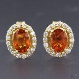 Gouden oorbellen met citrien en 0.24 ct diamant_