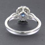 Witgouden ring met saffier en 0.32 ct diamant_