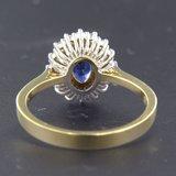 Bicolour gouden ring met saffier en 0.34 ct diamant_