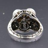 Witgouden ring met parel en 0.23 ct diamant_