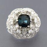 900PT Platina ring met saffier en 1.00 ct diamant_
