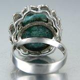Witgouden ring met groene agaat_