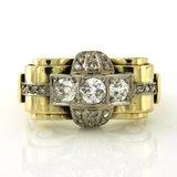 Gouden Retro ring met 1.00 ct diamant_