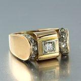 Gouden Retro ring met 0.12 ct diamant_