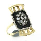 Goud met zilver Art Deco ring met onyx en 0.50 ct diamant_
