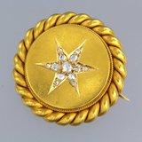 Gouden broche bezet met 0.15 ct diamant_