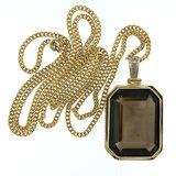 Gouden collier met hanger bezet met rookkwarts en diamant_