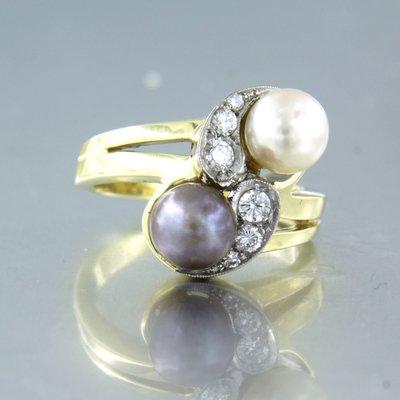Moi et Toi bicolour gouden ring met parel en 0.15 ct diamant