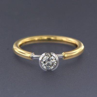 Bicolour gouden ring met 0.35 ct diamant
