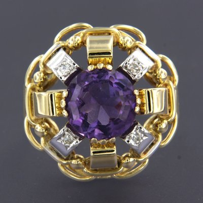 Bicolour gouden ring met amethist en 0.10 ct diamant