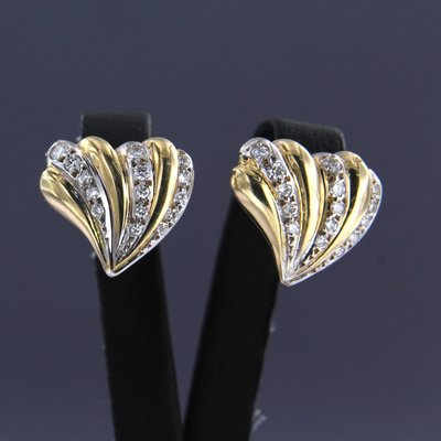 Bicolour gold earrings with 1.00 ct diamond