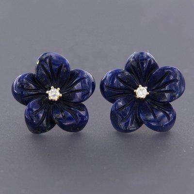 Roségouden oorbellen met lapis lazuli en 0.06 ct diamant