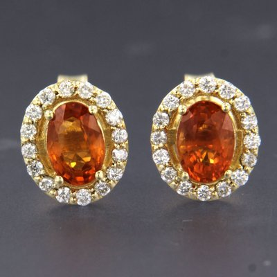 Gouden oorbellen met citrien en 0.24 ct diamant