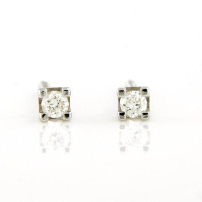 Witgouden oorknoppen met 0.10 ct diamant