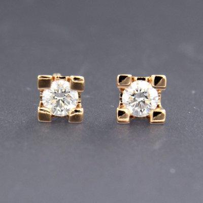 Roségouden oorknoppen met 0.24 ct diamant