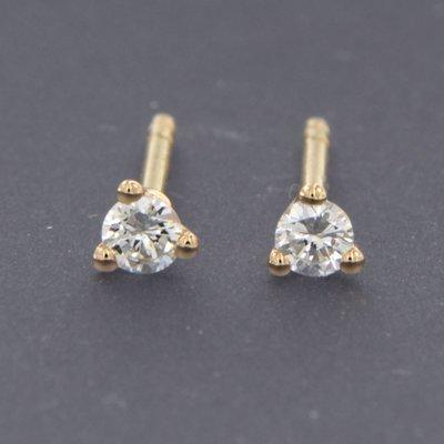Roségouden oorknoppen met 0.16 ct diamant