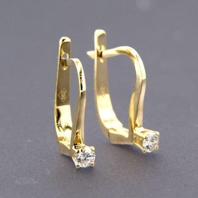 Gouden oorhangers met 0.18 ct diamant
