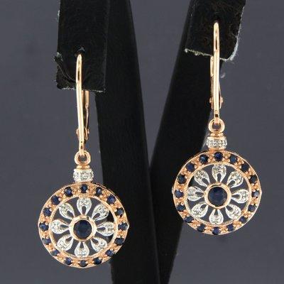 Roségouden oorhangers met saffier en 0.15 ct diamant