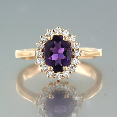 Rose gold ring with amethyst and 0.32 ct diamond