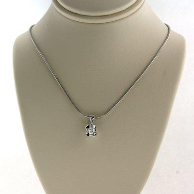Witgouden collier met 0.20 ct diamant