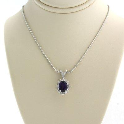 Witgouden collier met amethist en 0.30 ct diamant
