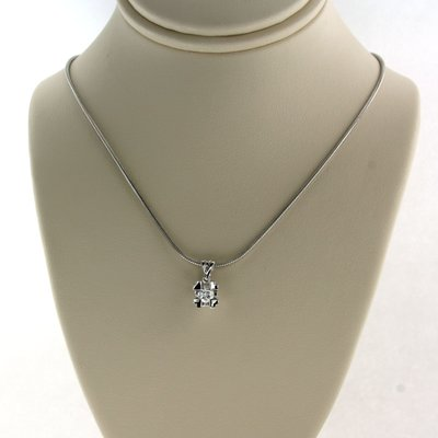 White gold necklace with solitaire pendant with 0.20 ct diamond