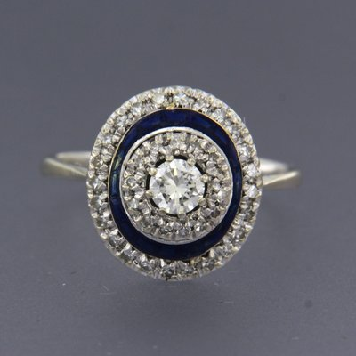 White gold ring with enamel, sapphire and 0.50 ct diamond