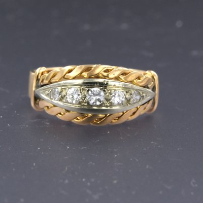 Gold Retro ring with 0.20 ct diamond