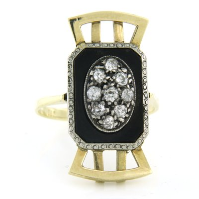 Gold with silver Art Deco ring with onyx and 0.50 ct diamond