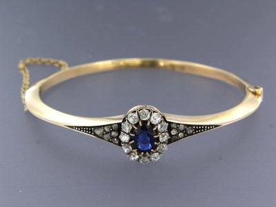 Roségouden scharnierarmband met saffier en 1.00 ct diamant