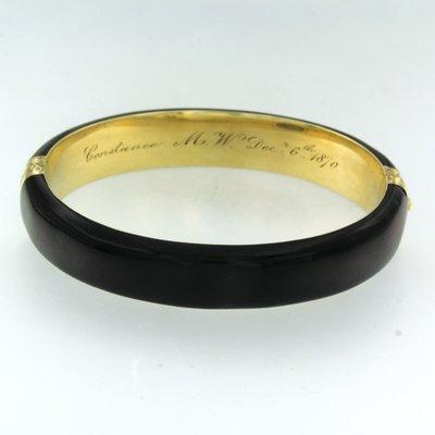 Gouden rouwarmband met onyx