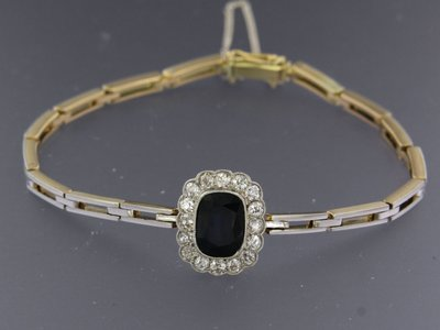 Gold bracelet with sapphire and 0.80 ct diamond
