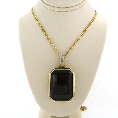 Gouden collier met hanger bezet met rookkwarts en diamant