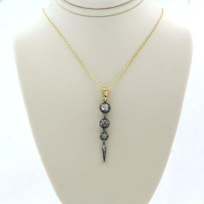 Gouden collier met goud met zilver hanger bezet met 0.40 ct diamant