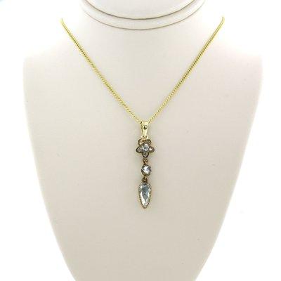 Gouden collier met hanger bezet met 0.80 ct diamant