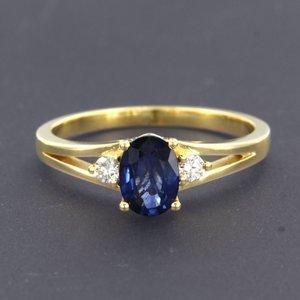 Gouden ring met saffier en 0.12 ct diamant