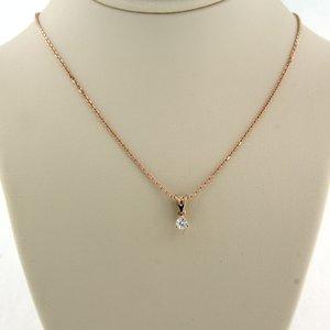Roségouden collier met solitair hanger met 0.08 ct diamant