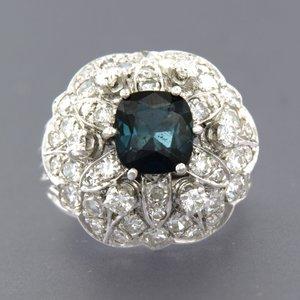 900PT Platina ring met saffier en 1.00 ct diamant