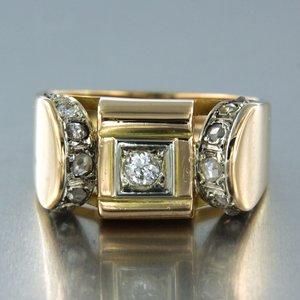 Gouden Retro ring met 0.12 ct diamant