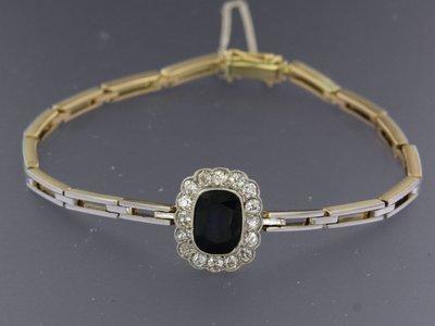 Gouden armband met saffier en 0.80 ct diamant