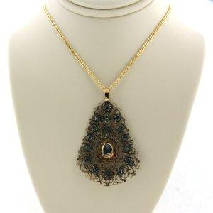 Gouden collier met goud met zilver hanger bezet met 0.30 ct diamant